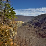 The Boston Mountains and Blue Skies as a Backdrop for Hawksbill Crag thumbnail
