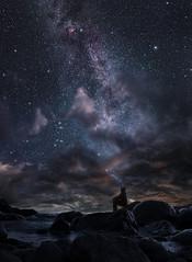 Night dreamer (petrisalonen) Tags: finland night nightphotography milkyway space astrophotography clouds sunset landscape digital visuals rocks saimaa suomi lake imatra flickrexplore photoshop doubleexposure