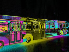 Downtown Bus 745 (Subtractive filter HSE) (Thiophene_Guy) Tags: thiopheneguy originalworks xz1 olympusxz1 camerawrappedinbreadbagtapedclosedarounduvfilter colour colors colours rainbow color surreal thsfeset harrisshutter effect rainbowcolors kinetic dynamic dynamism action motion movement aleatoric subtractivefilter subtractivefilterhse subtractivedifferenceharrisshuttereffect negativespace