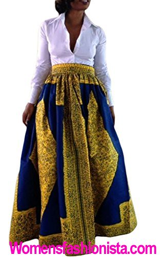 646c7d87702 Annflat Women s African Floral Print Maxi Skirts A Line Long Skirts With  Pocket X-Large. VIGVOG Women s Ethnic Plus-Size ...