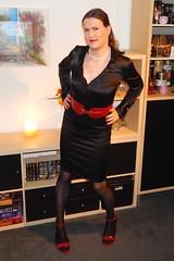 Black and Red (Rikky_Satin) Tags: silk satin blouse skirt highheels sandals pantyhose crossdresser crossdressing transvestite transgender tranny tgirl gurl transformed transformation mtf m2f sissy secretary office feminization femboi
