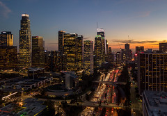 Downtown Los Angeles Skyline (STERLINGDAVISPHOTO) Tags: downtownlosangeles downtownla dtla downtownskyline losangeles twilight sunset aerialphotography aerialview 110fwy