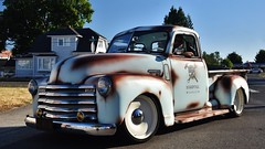 1949 Chevrolet 3100 Pickup Truck (Custom_Cab) Tags: 1949 chevrolet chevy pickup truck 3100 pick up patina paint blue advance design 1950 hardtail garage