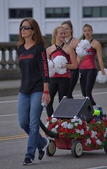 Cheerleaders & Chaperone (swong95765) Tags: woman females ladies cheerleaders costume chaperone walking parade pretty