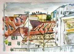 Débouché sur la ruez de Lucerne Strasbourg le 23-10-2017 (messerchristophe) Tags: aquarelle rue de lucerne strasbourg alsace croquis urbain