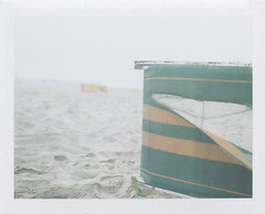 (Green) (Robbie McIntosh) Tags: polaroid polaroidlandcamera polaroidlandcamera180 polaroid180 instantfilm instant fujifp100c filmpack packcamera analog analogue film fujifp100csilk tominon tomiokatominon114mmf45 newtopographics newtopography decay sea beach deckchair ripped lagopatria green