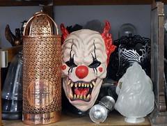 mask (chasdobie) Tags: mask foundobjects shelf studio art artist ottawa ontario canada indoor clown billstaubi williamstaubi