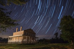 108: Star Trails at Atsion Mansion (Douglas Heusser Photography) Tags: atsion mansion wharton state forest nj new jersey pine barrens rokinon 14mm wide angle time lapse star trails astrophotography astronomy stars canon photography night sky landscape long exposure haunted heusser image