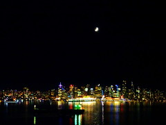 Waxing Crescent moon over Vancouver harbour (peggyhr) Tags: peggyhr waxingcrescentphase 20illumination skyline lights harbour cityscape reflections dsc09512a vancouver bc canada