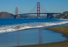 Golden Gate Reflections (outdoorPDK) Tags: goldengatebridge bakerbeach sanfranciscobay