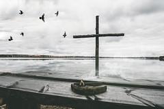 Rural altar (mirri_inc) Tags: mystery mood rural lake cross birds smoke fog water sky autumn dark halloween october altar