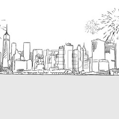 New York City Skyline Firework Sketch (Hebstreits) Tags: abstract background bright celebrate celebration city downtown drawn eve festival firework fireworks hand happy holiday illustraton light manhattan new night panorama river sketch sky skyline symbol tower vector water year years york