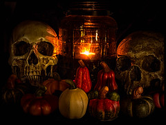 2017-304 Happy Halloween! (Darren Wilkin) Tags: stilllife halloween skulls lantern gourds longexposure rearcurtainflash oneaday 365