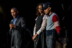 Barack Obama, Michelle Obama and Chance the Rapper (Joshua Mellin) Tags: obama presidentobama barack barackobama presidentbarackobama obamafoundation obamasummit chicago 2017 summit michelleobama joshuamellin photographer writer reporter photo pic october november fall autumn foundation library obamalibrary presidentiallibrary obamapresidentiallibrary event talks video pictures cameras community concert communityconcert wintrustarena chancetherapper chancelorbennett chancelor bennett age networth chitown president presidential politics music live photos pics 3 chance grammy grammys flotus firstlady obamas newera obamaorg website stream