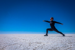 Yoga on the salt flat.