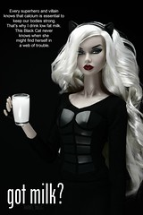 Perfect Picture Cycle 5 - Round 12 (FINAL ROUND): Magazine Advertisement (MARVEL_DOLLS) Tags: fashionroyalty fr fr2 oohlala poppyparker gotmilk marvel marvelcomics blackcat feliciahardy spiderman theamazingspiderman superhero villain blondebombshell blondedoll reroot rebody catears 16scale miniatures playscale barbietop divergent tris cup glass magazine advertisement ad doll