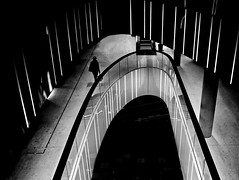 LED light stripes (heinzkren) Tags: schwarzweis blackandwhite monochrome panasonic lumix urban shopping mall einkaufszentrum wien vienna austria people architektur architecture street streetphotography lines curves linien bn city stairs stairway treppenhaus shoppingmall reflection spiegelung reflexion licht silhouette