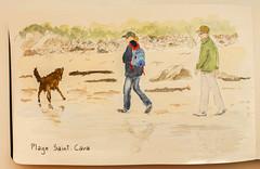 Plage Saint-Cava, Finistère (chando*) Tags: aquarelle watercolor croquis sketch bretagne brittany finistère plage beach gens people chien dog