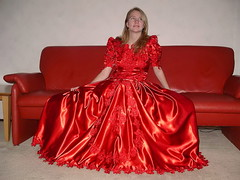 Stunning dress, stunning girl (Paula Satijn) Tags: girl lady young blond blonde pretty cute lovely dress gown red satin shiny silk silky skirt elegant stunning beauty gorgeous adorable classy chic feminine girly happy fun joy smile