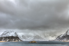 Approaching Snow (Joost10000) Tags: landscape seascape flakstadoya lofoten norway norge noorwegen norwegen mountains snow ice winter cold chill scenic nature natur wild wilderness sky sea clouds atlantic europe scandinavia nordland canon canon5d eos outdoors arctic