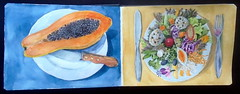 Hahnemühle sketchbook, watercolor by hj - DSC02083 (Dona Minúcia) Tags: art painting watercolor sketchbook hahnemühle food papaya plate salad arte pintura drawing desenho aquarela caderninho mamão salada mesa talheres garfo faca comida alimento restauranteflordelótus brasíliadf fruta almoço lunch dessert sobremesa