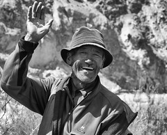 Hello! (nokkie1) Tags: india ladakh markhavalley horseman friendly laugh smile horse black white contrast