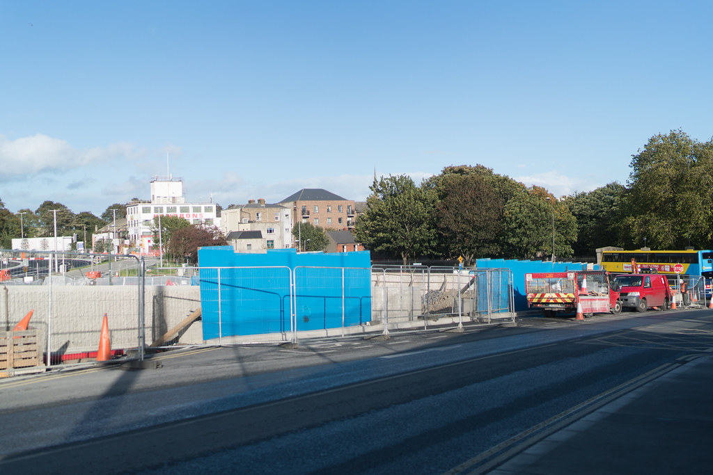 CONSTRUCTION STILL UNDERWAY AT THE BROADSTONE TRAM STOP [THE SCENE IS SOMEWHAT COMPLICATED]-133003