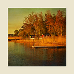 In evening light (Birgitta Sjostedt) Tags: lake sea water scene autumn fall light sunset bridge texture paint unique art