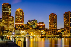 Boston harbor (ronperry811) Tags: longexposure blue colorful waterscape bluehour evening pier water boston architecture cityscape reflections skyline orange yellow vividstriking