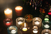 Jewel reflections (Elfie Ray Art) Tags: iittala kastehelmi kivi votive candle holders pols potten large blue used vase medium red true grace scented candles light magic romance candlelight atmosphere cosy christmas beautiful rainbow glass shine fire flame warm home homely jewel reflection