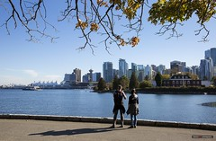 The Beginning Of The Fall (Clayton Perry Photoworks) Tags: vancouver bc canada fall autumn sunshine explorebc explorecanada skyline seawall people stanleypark coalharbour