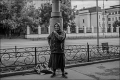 DRD160605_0124 (dmitryzhkov) Tags: sony alpha black blackandwhite bw monochrome white bnw blacknwhite art city europe russia moscow documentary photojournalism street urban candid life streetlife outdoor streetphotography streetphoto moment light shadow dmitryryzhkov people portrait streetportrait face man person stranger faces rogue oldman church glasses woman women shawl beggar metro subway fence