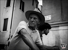 Venetian (Jack the Hat Photographic) Tags: venice venetian man bw hat street candid portrait european olympus pend penf pen m43 micro43 12100mm