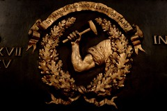 By Hammer and Hand All Arts Do Stand (pburka) Tags: crest motto hammer hand oak leaves gold gilded craftsman tradesmen society workers strong symbols generalsociety ohny