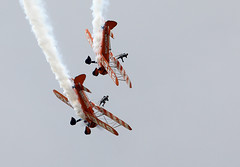 Wing Walkers (Bernie Condon) Tags: scampton rafstation military aribase base station airshow 2017 flying display aircraft plane uk lincs royalairforce raf breitling wingwalkers girls ladies aerobatics wingwalking aerosuperbatics boeing stearman trainer vintage classic preserved biplane formation