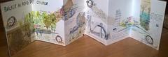 Paris. Balade au bord des canaux. 1. Vue du carnet déplié.. (couleur.indigo) Tags: aquarelle carnet croquis feutre paris paysagesurbains papier collage