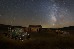 October Meteor Over Bodie's 1940 Ford (Jeffrey Sullivan) Tags: bodie state historic park mono county eastern sierra bridgeport california usa night travel photography milky way light painting astrophotography canon eos 6d photo copyright 2017 jeffsullivan allrightsreserved october abandoned rurral decay wild west mining town preservation