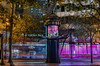 market street news kiosk (pbo31) Tags: sanfrancisco california night dark color nikon d810 city urban boury pbo31 october dall 2017 lightstream motion traffic roadway street financialdistrict marketstreet news bank first republic kiosk stand magenta