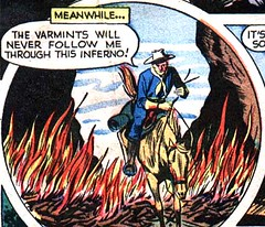 The varmints will never follow me through this inferno (Tom Simpson) Tags: western comics cowboy 1949 1940s vintage art illustration fire varmint