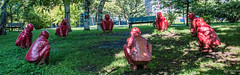 2017 - Montreal - The Meeting by Wang Shugang (Ted's photos - For Me & You) Tags: 2017 canada cropped montreal nikon nikond750 nikonfx tedmcgrath tedsphotos vignetting quebec montrealquebec wangshugang wangshugangthemeeting themeetingwangshugang themeeting sculpture bronzesculpture red redrule park labaladepourlapaix montreallabaladepourlapaix labaladepourlapaixmontreal openairmuseum montrealopenairmuseum openairmuseummontreal shadows wideangle widescreen emptyseats seating seats benches bench grass cans2s
