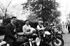 Distinguished Gentleman's Ride in Black and White (Georgie_grrl) Tags: distinguishedgentlemansride2017 charityride motorcycles blackandwhite monochrome pentaxk1000 rikenon12828mm toronto ontario portrait group trio