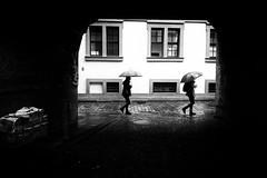 synchronized walking (Sandy...J) Tags: darkness light rain rx100 walking urban umbrella street streetphotography blackwhite bw monochrom people photography sony noir black white germany city