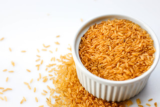 Brown Rice on a Whitte Background