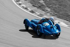 Delahaye 135S at Zandvoort (ShutterBasset) Tags: delahaye135s historicgrandprix zandvoort2017 classiccar racing blue grey monochrome corner oldtimer nikon d5200 70300vr panning delahaye