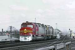 AT&SF FP45 5947 with Train 1, the westbound San Francisco Chief, makes a station stop at Joliet Union Depot on March 29, 1971 (a months before Amtrak Day)  -- 6 Photos (railfan 44) Tags: santafe atsf