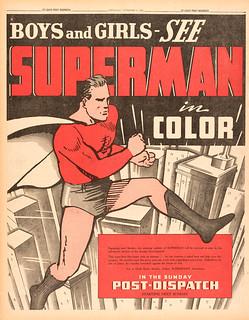 Superman newspaper strip ad, January 16, 1939