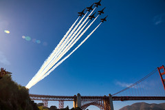 Blue Angels Over Golden Gate Bridge (Stefan Schafer) Tags: places sanfrancisco california fleetweek blueangels airshow bridge airplanes goldengate flying contrails
