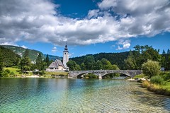 Church of St. John the Baptist in Bohinj in Summer (zkbld) Tags: church saint john baptist summer bridge water lake river bell tower belfry crucifix jesus religion faith sign symbol christianity catholic bohinj gorenjska triglavnationalpark slovenia centraleurope europe view scenic tranquility landscape landmark nature travel location tourism sport walk relaxation recreation sky preservation heritage hdr
