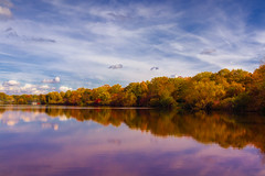 Autumnal Symmetry (FocusPocus Photography) Tags: see lake herbst autumn fall bäume trees maxeythsee stuttgart herbstfarben autumncolours spiegelung reflections himmel sky wolken clouds