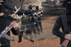 militants with firearms (Onlyimages01) Tags: terrorism war muslim islamic terrorist terror jihad soldier islam army iraq syria military isis religion conflict rebel taliban violence afghanistan gun rifle armed warrior weapons enemy firearm fighter man desert militant forces iraqi germany